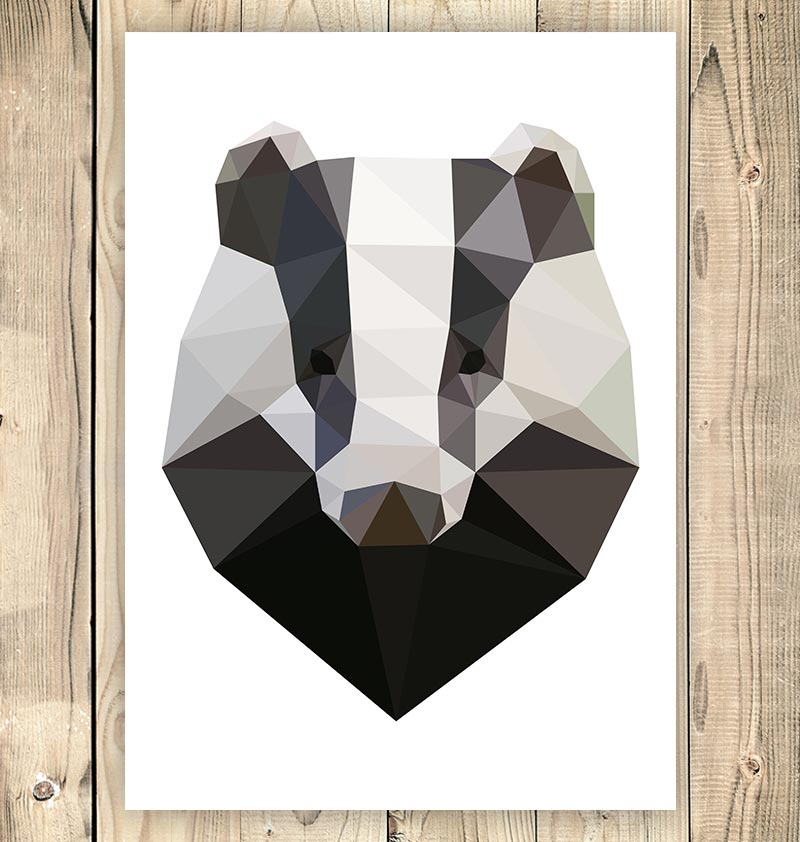 cute geometric badger animal art