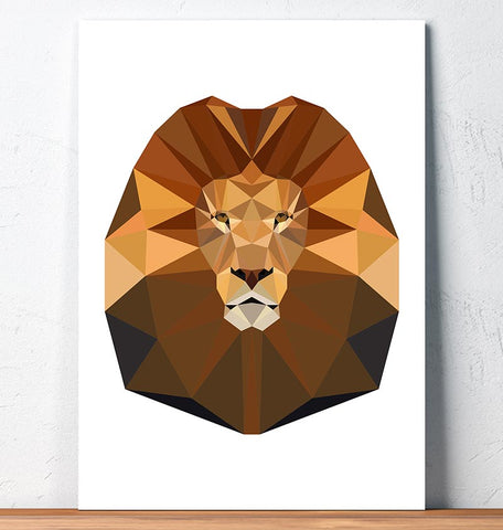 lion head geometric wall art