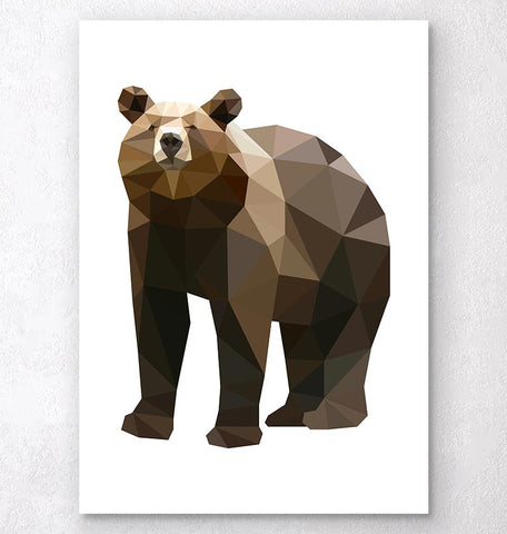 geometric animal wall art bear