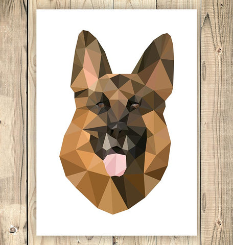 geometric animal art german shepherd