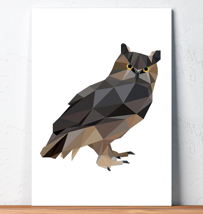 Horned owl - Bird art - Geometric style