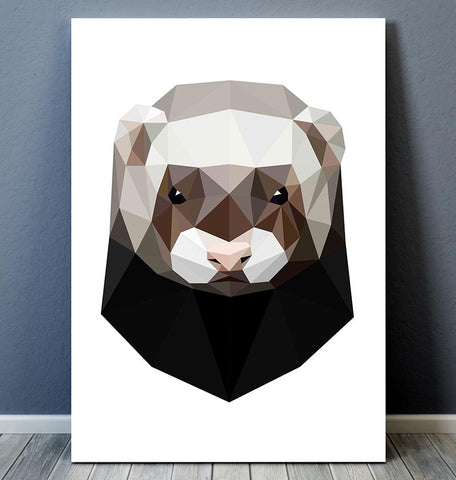 geometric ferret head animal wall art