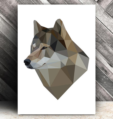 wolf head geometric animal art
