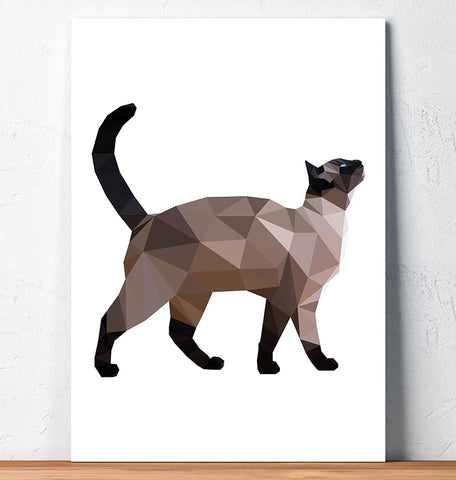 geometric animal art siamese cat