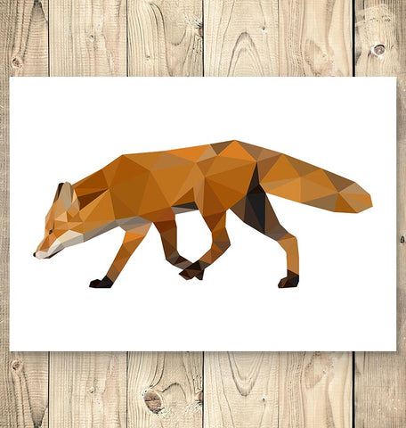 running fox geometric animal poster