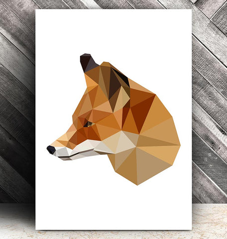 geometric animal print fox head