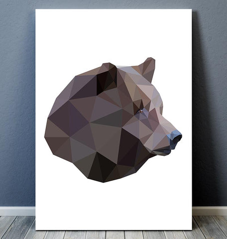 geometric animal art bear head