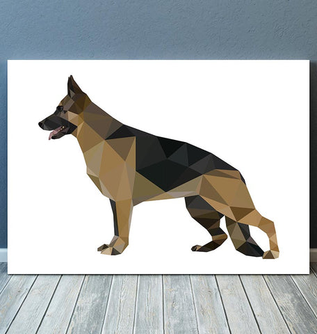 horizontal geometric animal wall art german shepherd