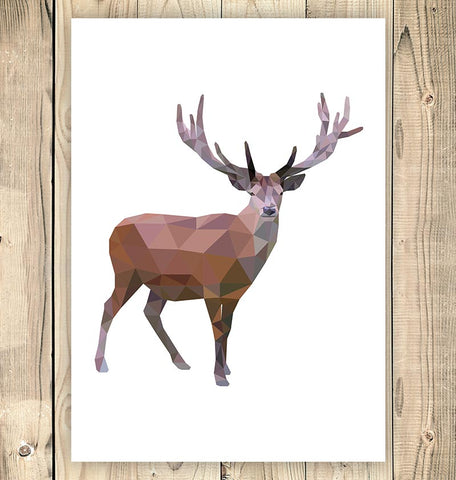 deer geometric animal poster
