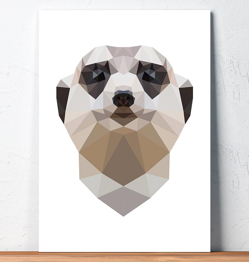 geometric meerkat head wall art