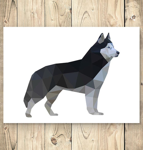 horizontal geometric husky animal poster