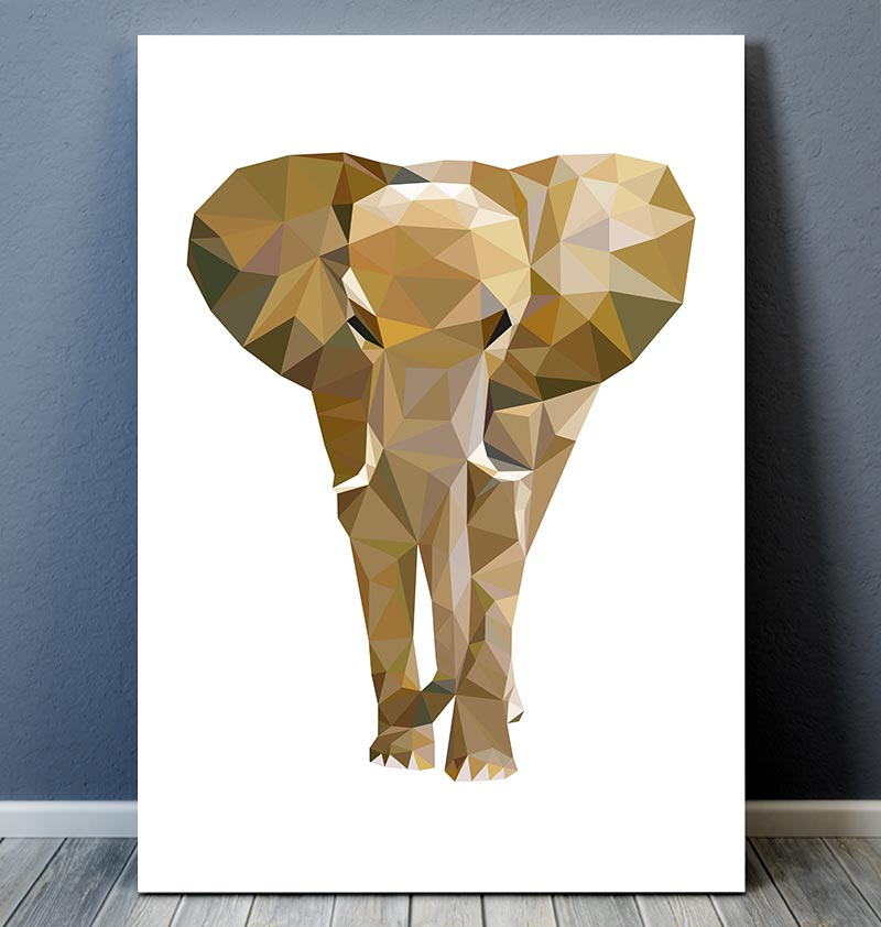 Captivating Animal Wall Art   Elephant III   Geometric Art