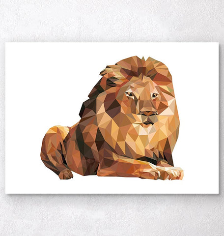 lying lion geometric animal poster