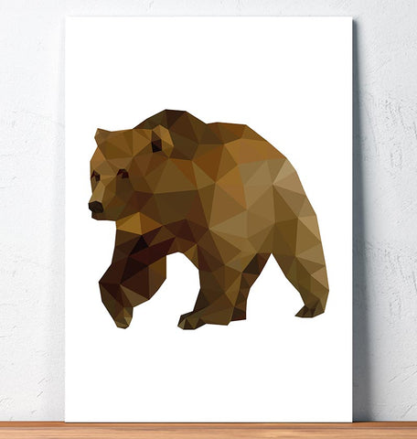 brown bear geometric animal print