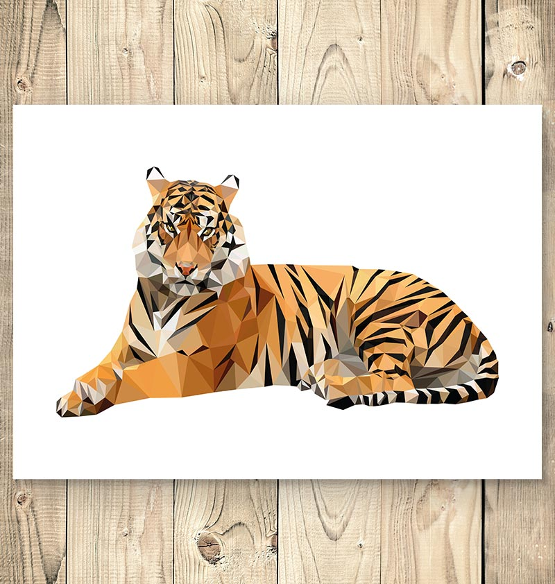 geometric tiger animal poster