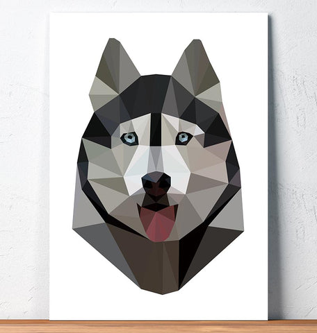 geometric husky head animal art