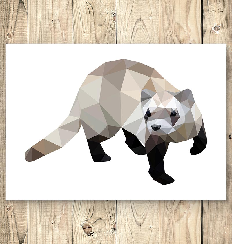 ferret geometric animal wall art