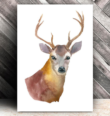 watercolor deer head animal poster