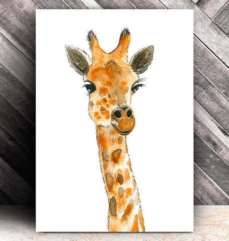 watercolor giraffe head art poster