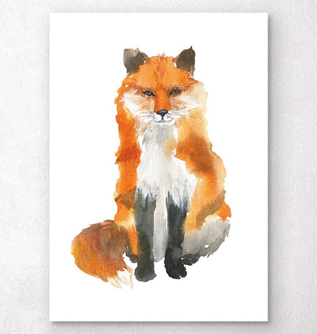 watercolor fox animal wall art