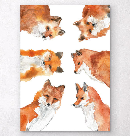 watercolor animal print with foxes