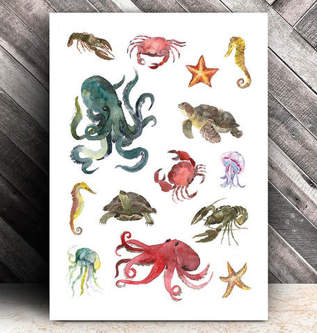 Marine animals collage watercolor