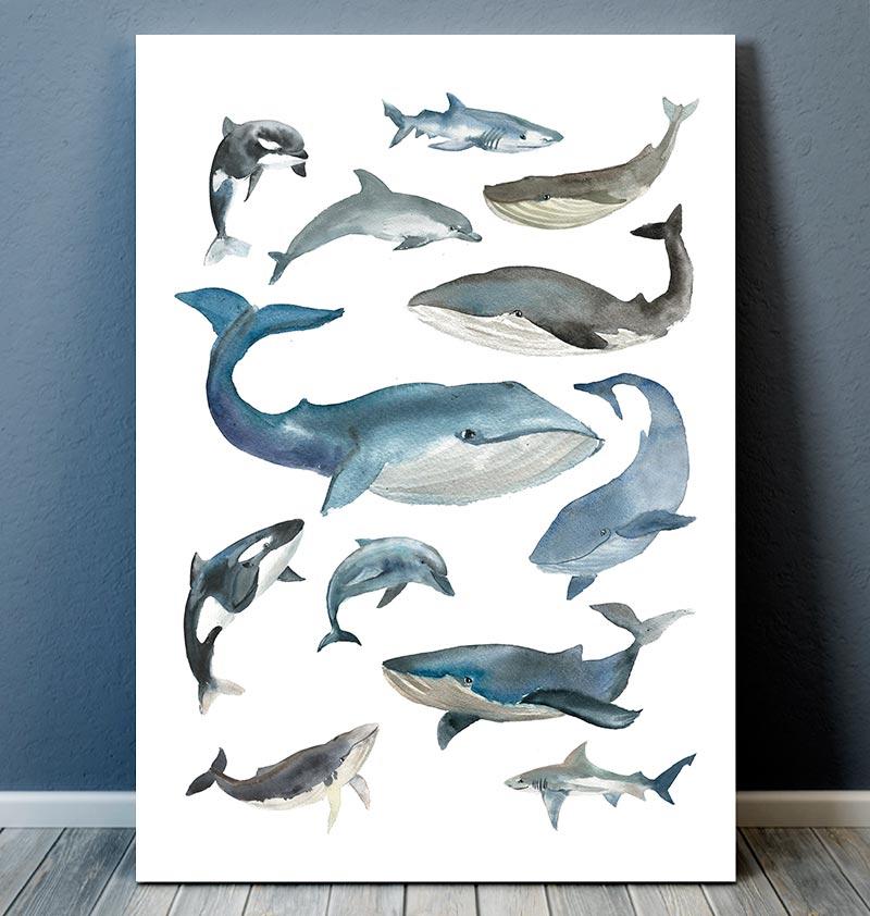Marine animals collage II -  Watercolor art