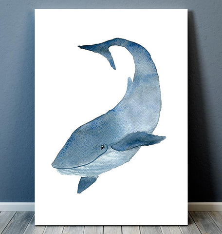Whale IV - Marine animal art - Watercolor