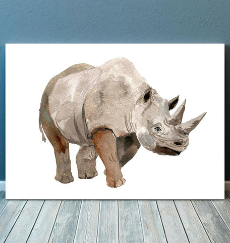 vertical watercolor rhino wall art