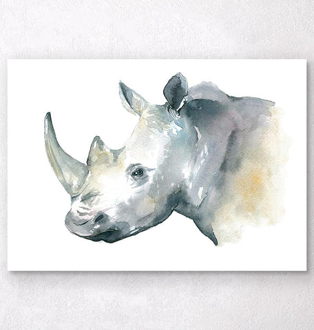 vertical watercolor rhino head print