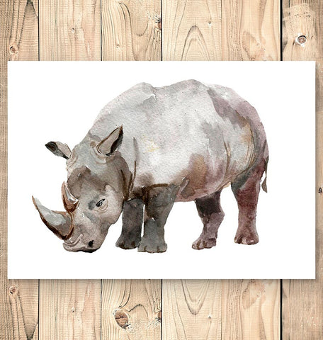 vertical watercolor rhino art
