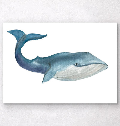 Watercolor whale art