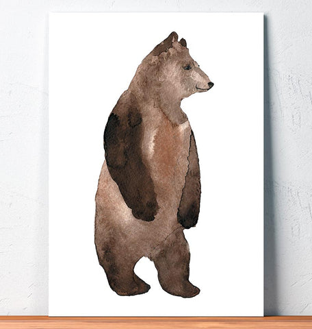 standing bear animal wall art watercolor