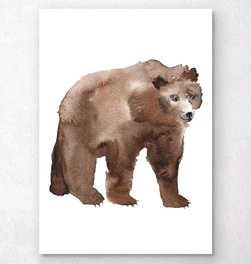 watercolor animal print brown bear