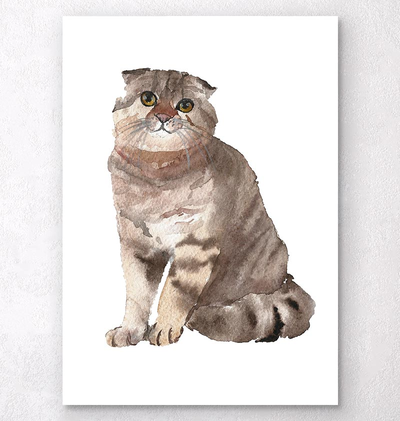 sitting cat watercolor animal art