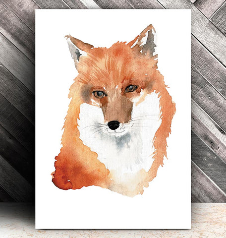 watercolor fox head animal poster