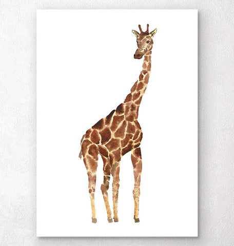 vertical watercolor giraffe art print