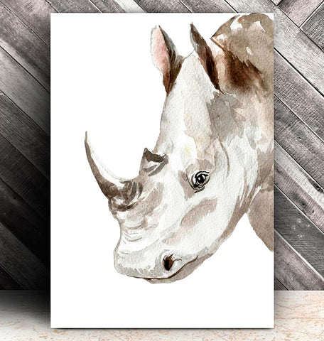 watercolor rhino head print