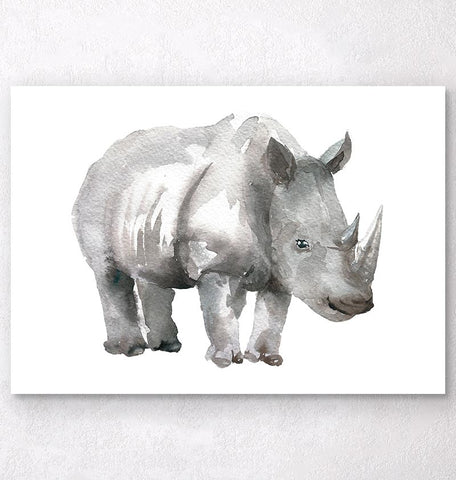 cute watercolor rhino poster
