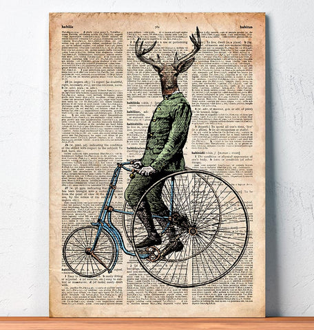 cycling deer dictionary page art