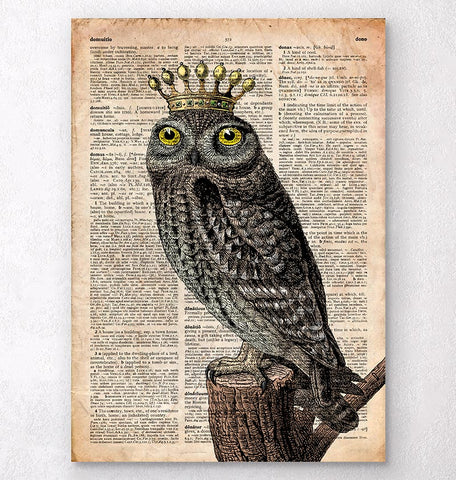 Owl King - Bird print - Dictionary art