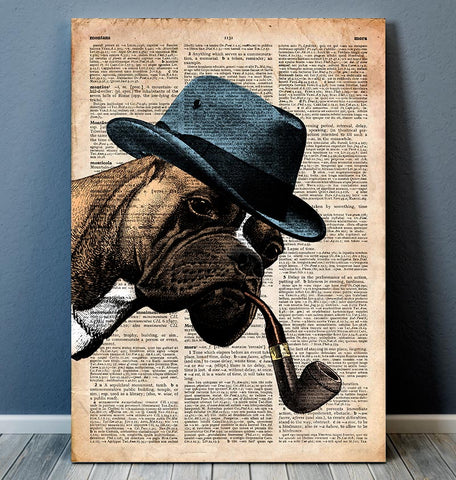 boxer with a hat cute dictionary animal art