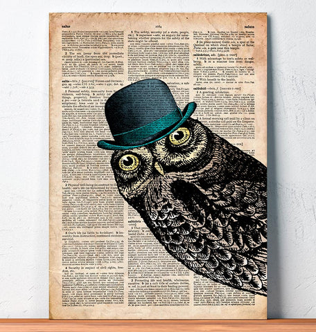 Owl in a hat art print