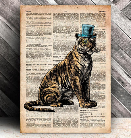 sitting tiger with a hat dictionary art