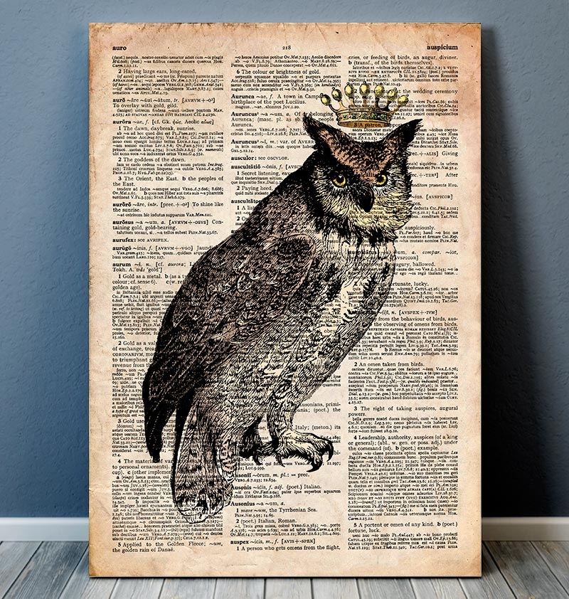 Owl King II - Bird art - Dictionary print