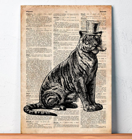 tiger in a hat dictionary art
