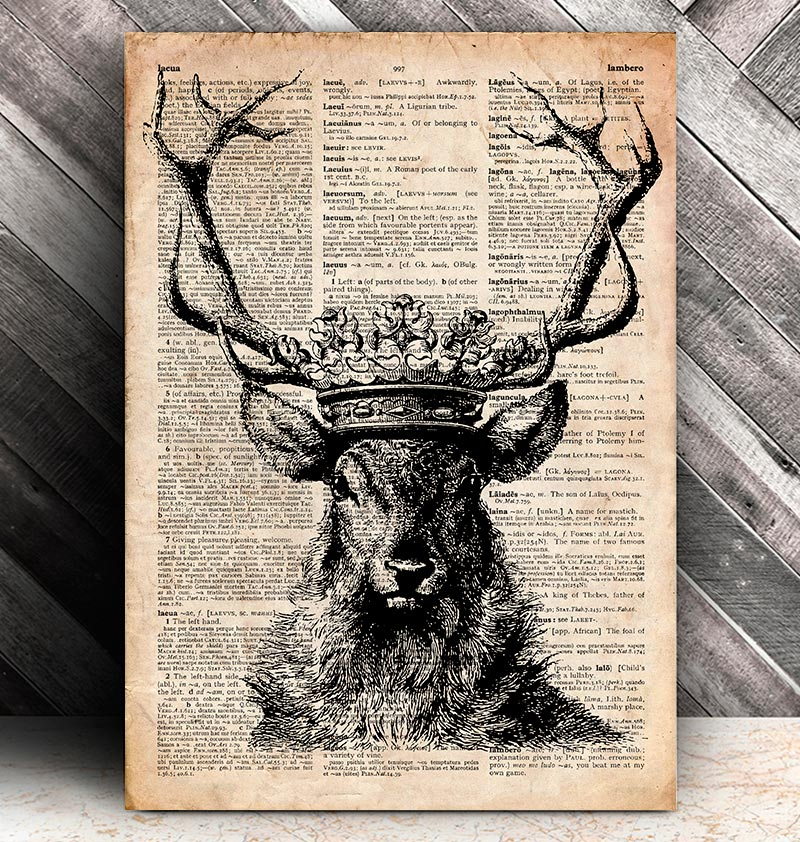 animal print deer and crown on a dictionary page