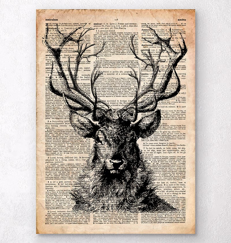 deer head on a dictionary page animal poster