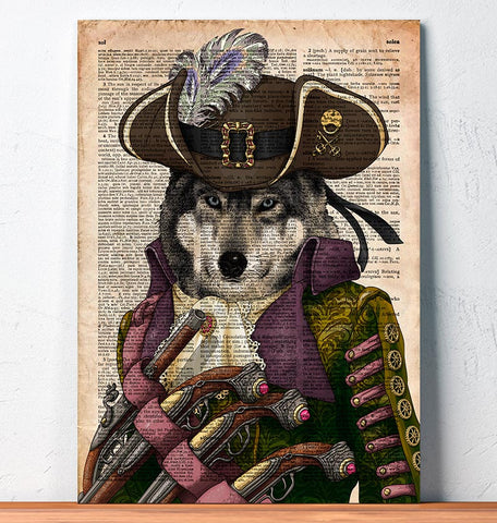 Steampunk Wolf dictionary art print