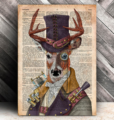 Steampunk deer dictionary art